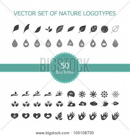 Vector Set Of 50 Ecology Icons, Nature Logo