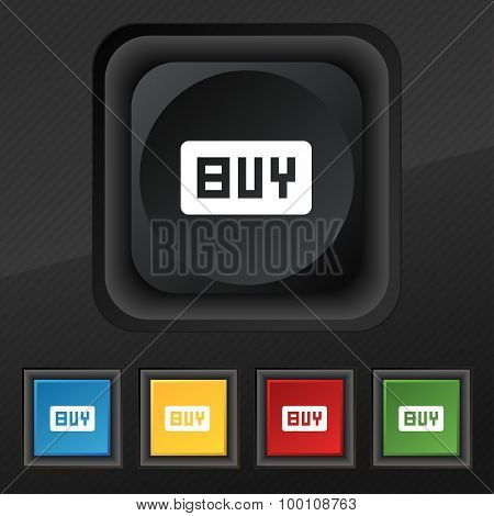 Buy, Online Buying Dollar Usd   Icon Symbol. Set Of Five Colorful, Stylish Buttons On Black Texture