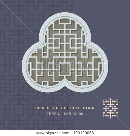 Chinese window tracery lattice trefoil frame series 06 square