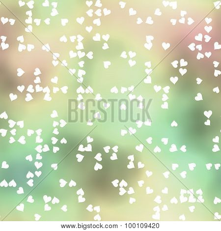 Seamless Pattern With Scattered Hearts