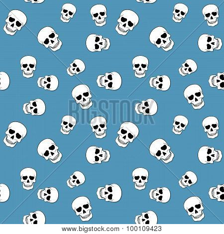Seamless Pattern With Skulls On Blue