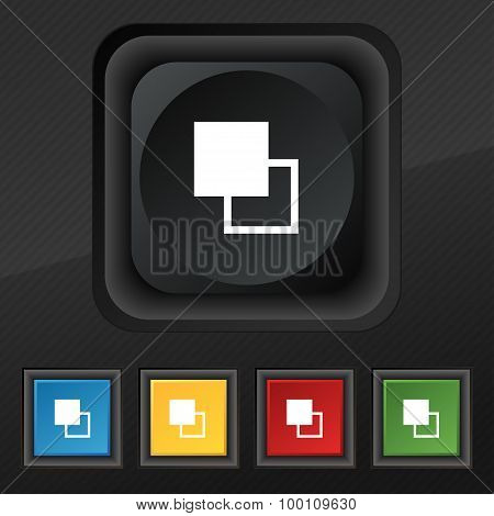 Active Color Toolbar  Icon Symbol. Set Of Five Colorful, Stylish Buttons On Black Texture For Your D