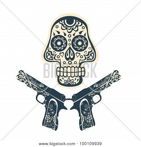 Hand drawn skull with guns on a grungy background in vintage style