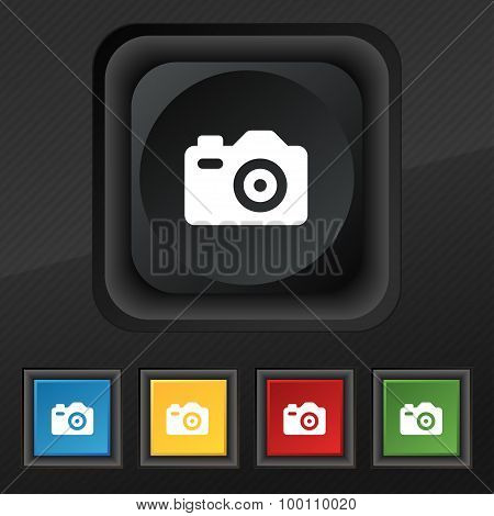 Photo Camera  Icon Symbol. Set Of Five Colorful, Stylish Buttons On Black Texture For Your Design. V