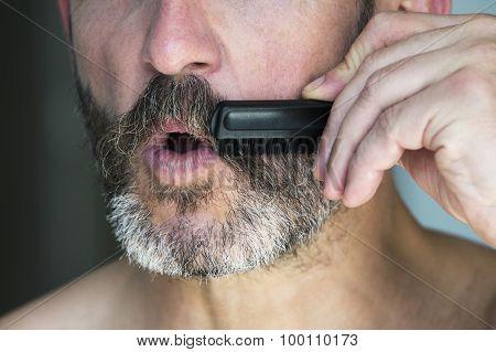 Man Brushing His Beard