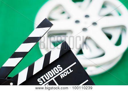 Movie Clapper Board Close Up Green Background