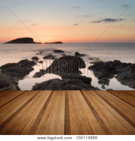 Stunning Landscapedawn Sunrise With Rocky Coastline And Long Exposure Mediterranean Sea With Wooden