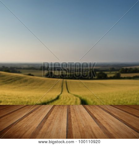 Stunning Countryside Landscape Wheat Field In Summer Sunset With Wooden Planks Floor