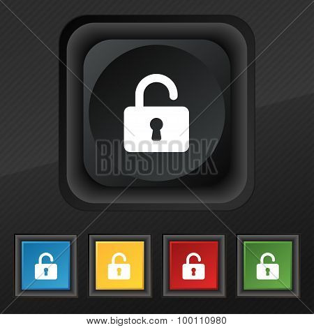 Open Padlock  Icon Symbol. Set Of Five Colorful, Stylish Buttons On Black Texture For Your Design. V
