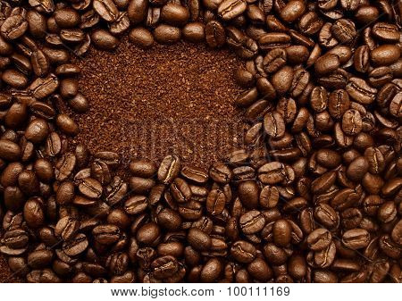 Frame shaped coffee beans