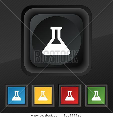 Conical Flask  Icon Symbol. Set Of Five Colorful, Stylish Buttons On Black Texture For Your Design.