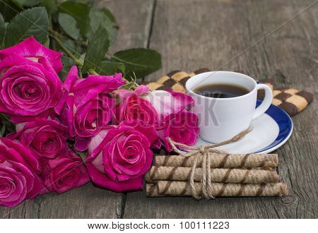 Cup Of Coffee, Cookies And Bouquet Of Scarlet Red Roses
