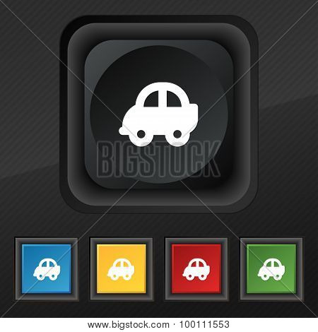 Auto  Icon Symbol. Set Of Five Colorful, Stylish Buttons On Black Texture For Your Design. Vector