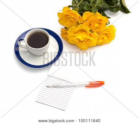 Cup Of Coffee, Yellow Roses And Notebook With The Handle