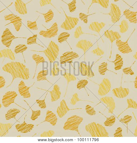 Autumn texture with scraped ginkgo leaves. Seamless pattern.