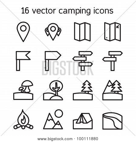 Set of camping, travelling and nature icons