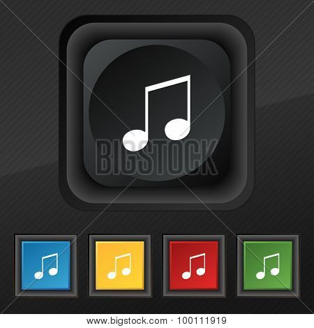 Musical Note, Music, Ringtone Icon Symbol. Set Of Five Colorful, Stylish Buttons On Black Texture Fo