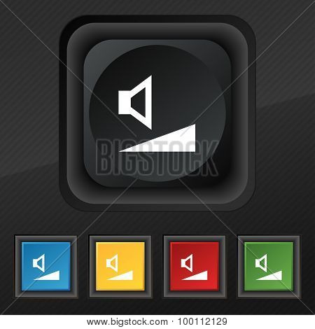 Volume, Sound Icon Symbol. Set Of Five Colorful, Stylish Buttons On Black Texture For Your Design. V