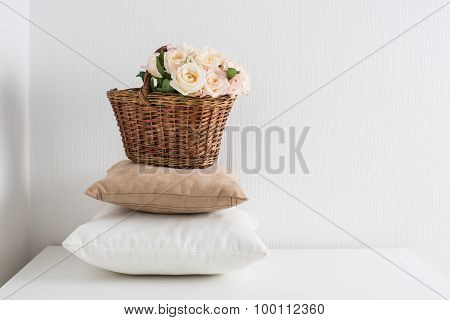 Basket and pillows