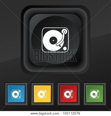 Gramophone, Vinyl Icon Symbol. Set Of Five Colorful, Stylish Buttons On Black Texture For Your Desig