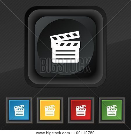 Cinema Clapper Icon Symbol. Set Of Five Colorful, Stylish Buttons On Black Texture For Your Design.