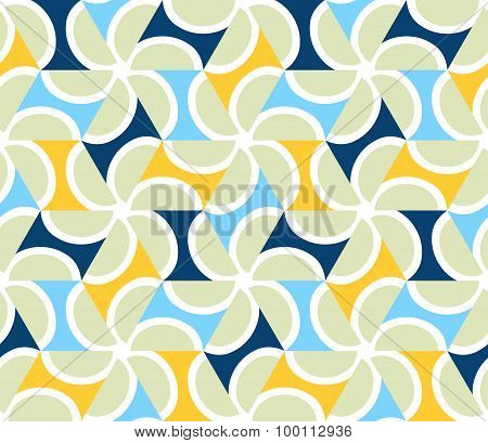 Geometric Abstract Seamless Pattern Motif Background. Colorful Shapes Of Pale Green Semicircles And