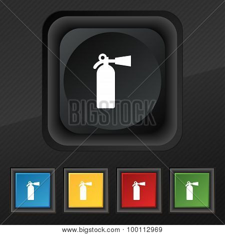 Fire Extinguisher Icon Symbol. Set Of Five Colorful, Stylish Buttons On Black Texture For Your Desig