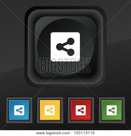 Share Icon Symbol. Set Of Five Colorful, Stylish Buttons On Black Texture For Your Design. Vector