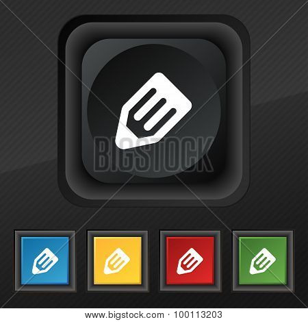 Pencil Icon Symbol. Set Of Five Colorful, Stylish Buttons On Black Texture For Your Design. Vector