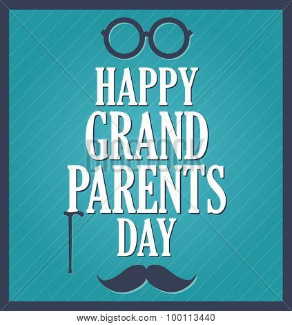 Grandparents Day greeting template. Blue background, dark blue frame