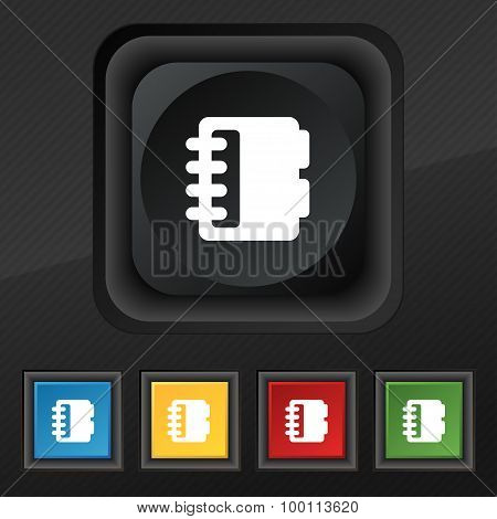 Notepad, Calendar Icon Symbol. Set Of Five Colorful, Stylish Buttons On Black Texture For Your Desig