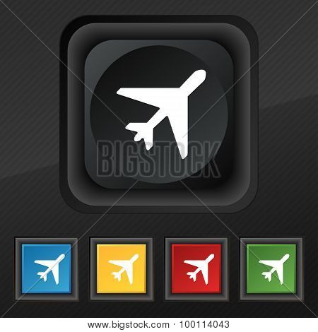 Airplane Icon Symbol. Set Of Five Colorful, Stylish Buttons On Black Texture For Your Design. Vector