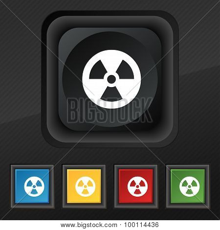 Radiation Icon Symbol. Set Of Five Colorful, Stylish Buttons On Black Texture For Your Design. Vecto