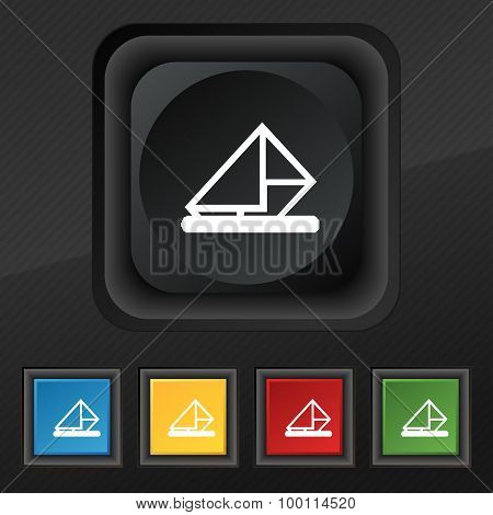 Letter, Envelope, Mail Icon Symbol. Set Of Five Colorful, Stylish Buttons On Black Texture For Your