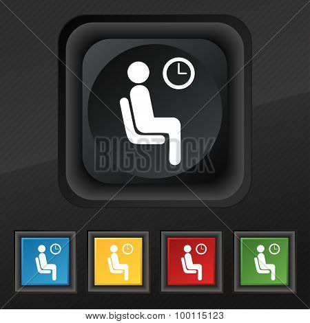 Waiting Icon Symbol. Set Of Five Colorful, Stylish Buttons On Black Texture For Your Design. Vector