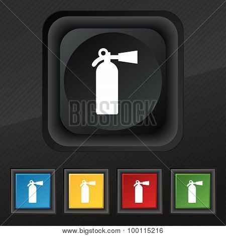 Extinguisher Icon Symbol. Set Of Five Colorful, Stylish Buttons On Black Texture For Your Design. Ve