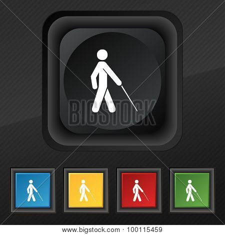 Blind Icon Symbol. Set Of Five Colorful, Stylish Buttons On Black Texture For Your Design. Vector