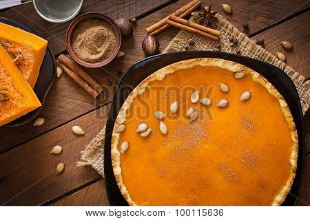 American pumpkin pie with cinnamon and nutmeg