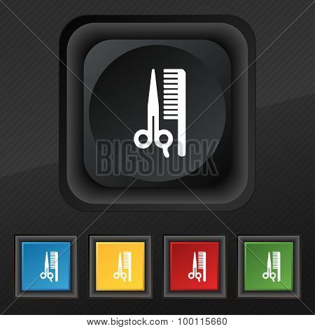 Hair Icon Symbol. Set Of Five Colorful, Stylish Buttons On Black Texture For Your Design. Vector