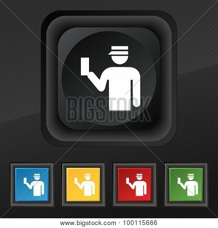 Inspector Icon Symbol. Set Of Five Colorful, Stylish Buttons On Black Texture For Your Design. Vecto