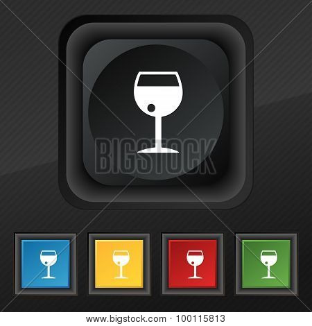 Glass Of Wine Icon Symbol. Set Of Five Colorful, Stylish Buttons On Black Texture For Your Design. V