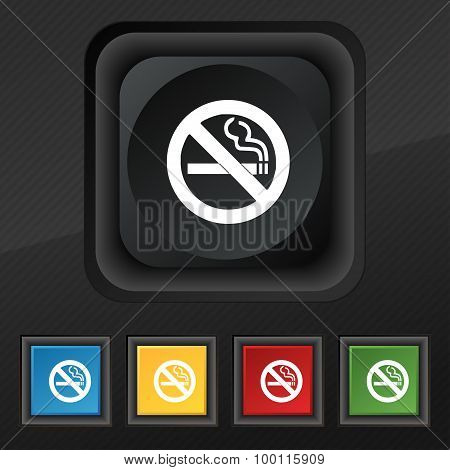 No Smoking Icon Symbol. Set Of Five Colorful, Stylish Buttons On Black Texture For Your Design. Vect