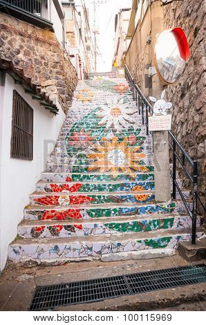 The Flower Stair In Ihwa Mural Village