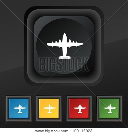 Aircraft Icon Symbol. Set Of Five Colorful, Stylish Buttons On Black Texture For Your Design. Vector
