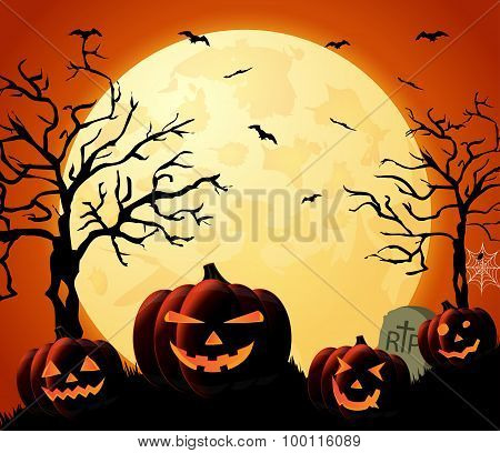 Halloween night orange background with pumpkins and moon