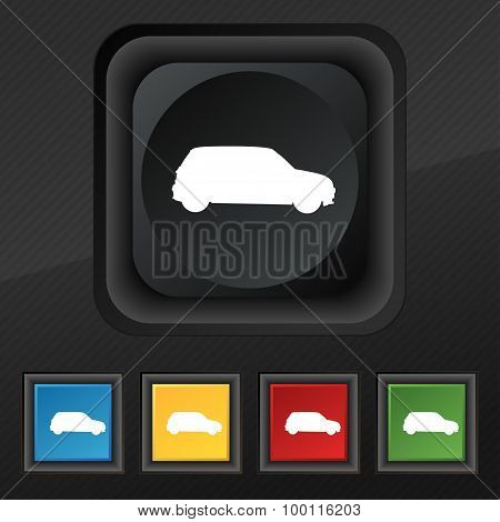 Jeep Icon Symbol. Set Of Five Colorful, Stylish Buttons On Black Texture For Your Design. Vector