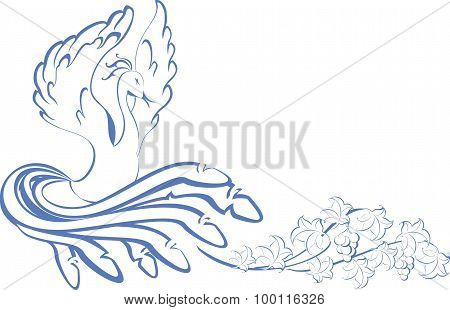 Pattern. bird dancing at the vine. EPS10 vector illustration