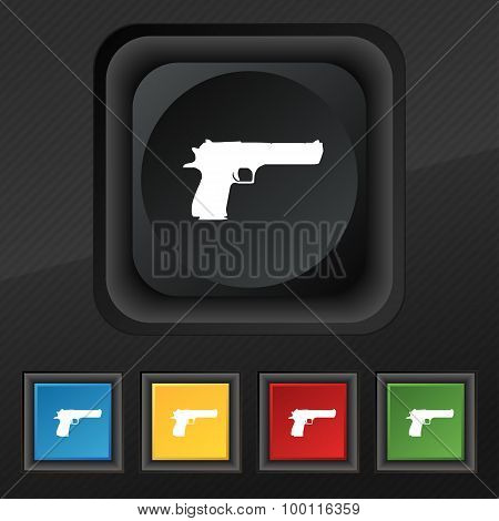 Gun Icon Symbol. Set Of Five Colorful, Stylish Buttons On Black Texture For Your Design. Vector