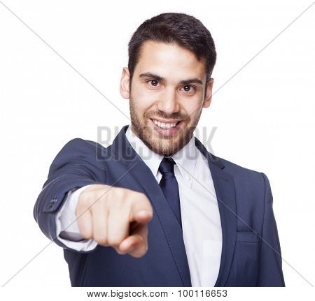 Smiling business man pointing the finger to the camera, isolated on white background