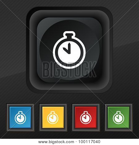 The Stopwatch Icon Symbol. Set Of Five Colorful, Stylish Buttons On Black Texture For Your Design. V